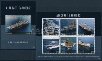 Aircraft carriers minisheet + block Repülőgép szállító anyahajók kisív  + blokk