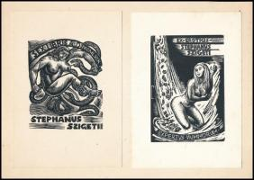 Sterbenz Károly (1901-1993) és Menyhárt József (1901-1976): Erotikus ex libris ( 2 db), fametszet, papír, jelzett a metszeten, 9×7 cm (2×)