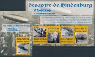 75th anniversary of the Hindernburg airship disaster minisheet + block, A Hindenburg léghajó katasztrófájának 75. évfordulója kisív + blokk