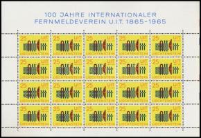 Centenary of ITU mini sheet, 100 éves a Nemzetközi Távközlési Unió (ITU) kisív