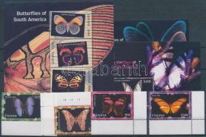 Butterflies corner set + minisheet + block set, Lepkék ívsarki sor + kisív + blokksor