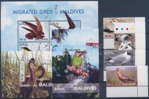Birds corner set + mini sheet + 2 blocks, Madarak ívsarki sor + kisív + 2 db blokk