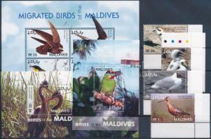 Birds corner set + minisheet + 2 blocks, Madarak ívsarki sor + kisív + 2 db blokk