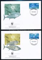 WWF Bluefin tuna set 4 FDC, WWF: Kékúszójú tonhal sor 4 db FDC-n