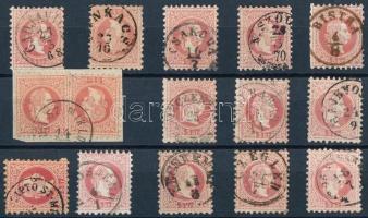 15 stamps with nice cancellations, 15 db bélyeg szép/olvasható bélyegzésekkel