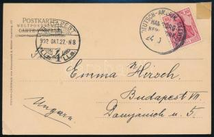 Hamburg - New York ship post postcard, Hamburg - New York hajóposta képeslap