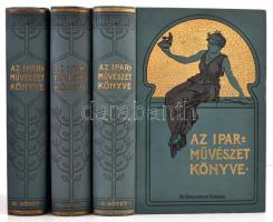 Az iparművészet könyve. I-III. kötet. A Magyar iparművészeti Társulat megbízásából szerkeszti Ráth György. Bp.,1902-1912, Athenaeum, 1 t.(címkép)+VII+532 p.+ XCI t. melléklet (ebből 2 kétlapos, 3 kihajtható, 8 színes); 4+646 p.+LXXXVI t. melléklet (ebből 9 színes); 4+633+2 p.+ LXXV t. képmelléklet (ebből 3 színes). Gazdagon illusztrálva. Egységes kiadói dúsan aranyozott, illusztrált egészvászon-kötésben, a felső lapélek aranyozottak, I. kötetben bírálati tiszteletpéldány bebélyegzéssel, II. kötetben Schannen Ernő & Arthur műépítészek bebélyegzésekkel, jó állapotban.  Schannen Ernő (1853-1916): építész. Tanulmányait Zürich végezte. Előbb Ybl Miklós irodájában dolgozott, majd Hauszmann Alajosnak volt munkatársa . Később önállóan és fiával, Artúrral több vidéki kastélyt és bérházat épített. Jelentősebb alkotásai Rémy szálló/Nemzeti szálló (József krt. 4.), Bródy Sándor u. 10. sz., Vámház tér és Molnár u. közötti sarokbérház, a volt Grünwald Szanatórium (Gorkij fasor 13.).