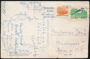cca 1955 A magyar ifjúsági labdarúgó válogatott tagjai által aláírt képeslap / Hungarian junior football team signed postcard