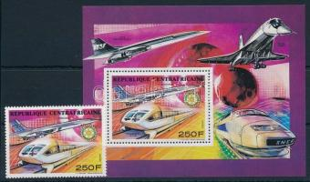 Concorde, railway stamp + block, Concorde, vasút bélyeg + blokk