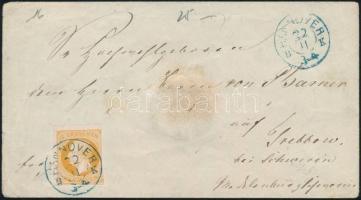 "~1860 Mi 16 on cover blue  ""HANNOVER B. K."" - Srebbow, ~1860 Mi 16 levélen kék ""HANNOVER B. K."" - Srebbow"