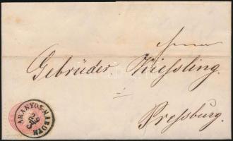 1864 5kr levélen / on cover ARANYOS-MAROTH - PRESSBURG