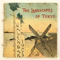 1905 The Landscapes of Tokyo. Calendar for 1905. Tokyo, T. Hasegawa, 8 sztl. lev. (borítókkal együtt, kettős lapok.) Gyönyörű színes fametszetes illusztrációkkal, város és tájképek közé illesztett hónapokkal, krepp-papír lapokkal, angol nyelven. Kiadói színes, illusztrált fűzött papírkötés, kissé foltos./   1905 The Landscapes of Tokyo. Calendar for 1905. Tokyo, T. Hasegawa. With beautiful colorful woodblock illustrations. Crepe paper-binding, little bit spotty, in English language. Eight pages of folded creped paper for a total of 16 pages (front and back cover included in the count).