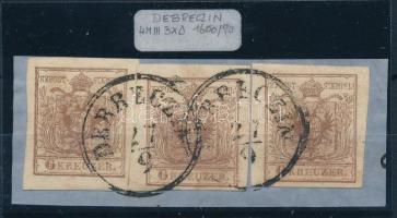 1850 3 x 6kr alul üreges nyomat ,,DEBRECZIN