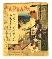 F.M. Bostwick: Kohana San. Tokyo, 1892, T. Hasegawa, 12 sztl. lev. (borítókkal együtt, kettős lapok.) Gyönyörű színes fametszetes illusztrációkkal, krepp-papír lapokkal, angol nyelven. Kiadói színes, illusztrált fűzött papírkötés, kis hiánnyal a hátsó borító felső sarkán, valamint kis folttal a hátsó borító alsó szélén, a gerince hiányos./  F.M. Bostwick: Kohana san. Tokyo, 1892, T. Hasegawa. With beautiful colorful woodblock illustrations. Crepe paper-binding, little lack and little spotty on the back cover, the spine incompleted, in English language. Twelve pages of folded creped paper for a total of 24 pages (front and back cover included in the count).