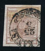 1850 6kr HP I vörösesbarna első nyomás, papírránc ,,(NAGY)KANISA Sign: Ferchenbauer Certificate: Steiner