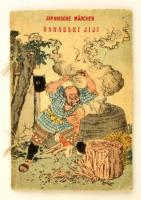 Hansaki Jiji. Vom alten Mann, der verdorrte Bäume zum blühen brachte. Japanische Mächen. Tokyo,é.n., T. Hasegawa, 9 sztl. lev. (borítókkal együtt, kettős lapok.) Gyönyörű színes fametszetes illusztrációkkal, krepp-papír lapokkal, német nyelven. Kiadói színes, illusztrált fűzött papírkötés, az elülső borítón kis szakadással, a hátsó borítón kis gyűrődéssel, az egyik lapon kis hiánnyal./   Hansaki Jiji. Vom alten Mann, der verdorrte Bäume zum blühen brachte. (The Old Man Who Made the Dead Trees Blossom.) Japanische Mächen. (Japanese Fairy Tales.) Tokyo, T. Hasegawa.With beautiful colorful woodblock illustrations. Crepe paper-binding, with little tear on the front cover, little crease on the back cover, little lack on a page, in German language. Nine pages of folded creped paper for a total of 18 pages (front and back cover included in the count).