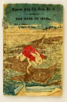T. H. James: The Hare of Inaba. Japanese Fairy Tale Series No. 11. Tokyo, é.n., T. Hasegawa, 9 sztl. lev. (borítókkal együtt, kettős lapok.) Gyönyörű színes fametszetes illusztrációkkal, krepp-papír lapokkal, angol nyelven. Kiadói színes, illusztrált fűzött papírkötés, a borító szakadt, sérült, a gerince hiányos./  T. H. James: The Hare of Inaba. Japanese Fairy Tale Series No. 11. Tokyo, T. Hasegawa. With beautiful colorful woodblock illustrations. Crepe paper-binding, with damaged cover, the spine incompleted, in English language. Nine pages of folded creped paper for a total of 18 pages (front and back cover included in the count).