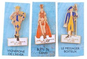 Franciaország 1999. 3xklf zománcozott fém jelvény: VIGNERONE DE LHIVER, LE MESSAGER BOITEUX és SUTIE DE CERES T:1- France 1999. 3xdiff enamelled badges: VIGNERONE DE LHIVER, LE MESSAGER BOITEUX és SUTIE DE CERES C:AU