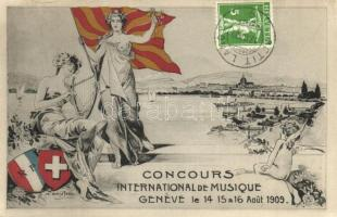 1909 Geneve, Geneva; Concours International de Musique / International Music Competition advertisement card, Swiss coat of arms. E. Pollian & Geroudet. TCV card (EK)