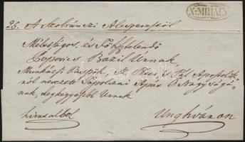 1847 Hivatalos levél / Official cover N:MIHALY - Ungvár