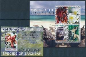 Protecting the wildlife of Zanzibar minisheet + block, A zanzibári élővilága védelme kisív + blokk