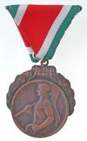 Berán Lajos (1882-1943) 1949. Ferencz Városi Torna Club Br díjérem koszorú keretben, modern mellszalaggal, nem saját tokban (48mm) T:2,2-