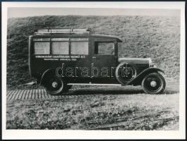 cca 1930 Rimamurány-Salgótarjáni Vasmű R.T. Társpénztári Kórháza Ózd feliratú jármű, későbbi előhívás, 9x12 cm