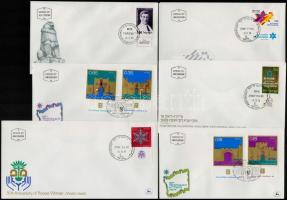 1970-1975 6 diff. FDC-s with stamps with tab, 1970-1975 6 db klf tabos FDC