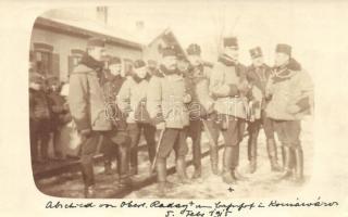 1915 Zalakomár, Komárváros; Abschied von Oberleutnant Raday / Vasútállomás, katonák búcsúja Ráday főhadnagytól / WWI K.u.K. soldiers farewell to Lieutenant Raday at the railway station. photo (EK)