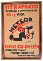 1930 Bardócz Árpád (1882-1938): Meteor porosz szalon szén, art deco reklám plakát, Phöbus nyomda, restaurált, 47x33 cm / Meteor coal company advertisment poster, restored, 47x33 cm