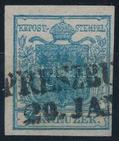 9kr HP II. sötét matt kék, kiemelt középrész
