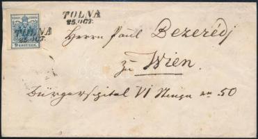 """~1855 9kr MP on shortened cover """"TOLNA"""" - """"WIEN"""", ~1855 9kr MP lerövidített levélen """"TOLNA"""" - """"WIEN"""""""