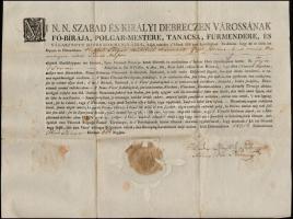 1821 Debrecen szabad királyi város bizonyságlevele tímár mester részére, mely szerint a város polgárai közé felvetetett. A letett városi eskü szövegével. Papírfelzetes viaszpecséttel. 40x31 cm