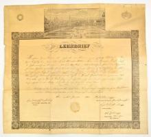 1843 Bécs látképe a cipészek céhének mesterlevelén. Fametszet, szignált. Erős hajtásnyomokkal, kis szakadásokkal, hátul ragasztva. / 1843 Image of Vienna on the warrant of the guild of the shoemakers. With tape on the back. 56x51 cm