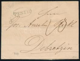 1846 Levél / Cover PESTH - DEBRECZIN