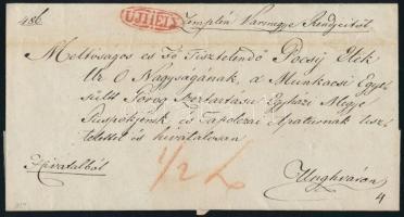 1831 Hivatalos levél / Official cover piros/red UJHELY - Unghvár