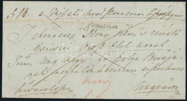1842 Hivatalos levél / Official cover v.TISZAUJLAK - Ungvár
