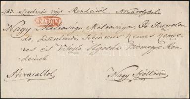 1828 Hivatalos levél / Official cover piros/red N:KAROLY - Nagy Szöllös