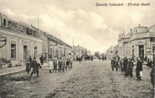 Szikszó, Fő utca, Miskolczi Takarékpénztár, Mezőgazdasági bank, üzletek. Stamberger Márk kiadása