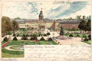1899 Karlsruhe, Residenz-Schloss / castle, litho s: Klry