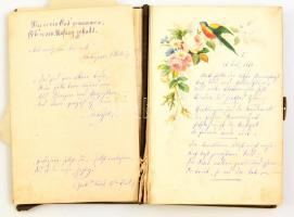 cca 1880 Czóbel Minka (1855-1947) költőnő, a szimbolizmus képviselője, a Nyugat előfutárának saját kézzel írt költeményeit tartalmazó füzet. A hosszabb és rövidebb német nyelvű versek pályájának korai szakaszából származnak. 49 beírt oldal, szétesett fűzéssel, néhány későbbi beírással is.