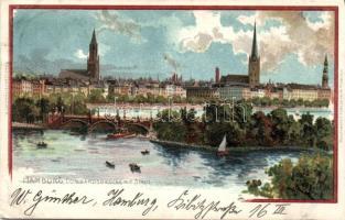 1899 Hamburg, Lombardsbrücke, litho