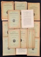 1891-1902 Akadémiai Értesítők, összesen: 16 füzet: 1891. augusztus 20. füzet, 1891. november 23. füzet, 1894. május 53. füzet, 1895. május 65. füzet, 1895. július 67. füzet, 1897. július 91. füzet, 1897. augusztus 92. füzet, 1898. március 99. füzet, 1899. május 5. füzet, 1899. augusztus 116. füzet, 1900. július 127. füzet, 1895. március 63. füzet, 1901. március 135. füzet, 1901. október 142. füzet, 1901. november 143. füzet, 1902. február 146. füzet. Szerk.: Szily Kálmán. Bp., MTA. Kiadói papírkötés, változó, részben szakadozott állapotban, két füzet szétesik, az egyik füzet borítója hiányos.