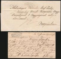 1841 2 db levél fekete és nem katalogizált zöld MARTZALY bélyegzéssel / 2 covers with black and green MARTZALY, the green isnt listed in the catalogue