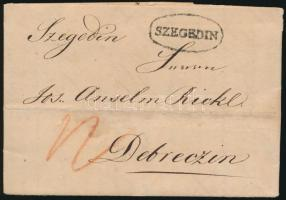 1828 Portós levél teljes tartalommal / Unpaid cover with full content SZEGEDIN - Debreczin