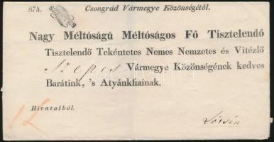 1832 Hivatalos levél luxus bélyegzéssel / Official cover SZENTES