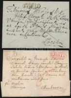 1837 2 db levél fekete és piros UJHELY bélyegzéssel / 2 covers with black and red UJHELY
