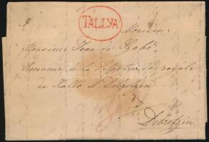 1830 Portós levél teljes tartalommal / Unpaid cover with full content piros/red TALLYA