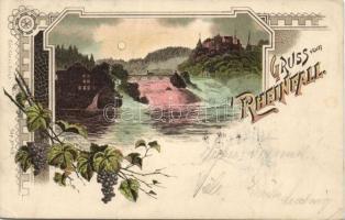 1898 Rheinfall, Rhine Falls; grapes Art Nouveau litho