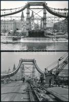 cca 1964 Budapest, Az Erzsébet híd építése, 4 db vintage fotó, 18x24 cm és 13x18 cm között